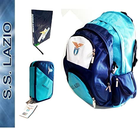 Lazio Trolley - Mochila Escolar SS Oficial + Estuche de 3 Pisos Lleno + Diario + Llavero Silbato + 10 bolígrafos de Colores + marcapáginas: Amazon.es: Deportes y aire libre