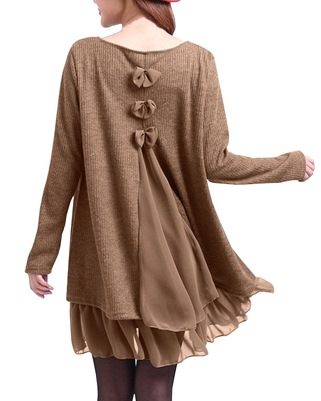 ZANZEA Maglioni Donna Pizzo Maglione Maglia Maniche Lunghe Vestito Corto Elegante Casual Moda Pullover Vestiti Donna Invernali