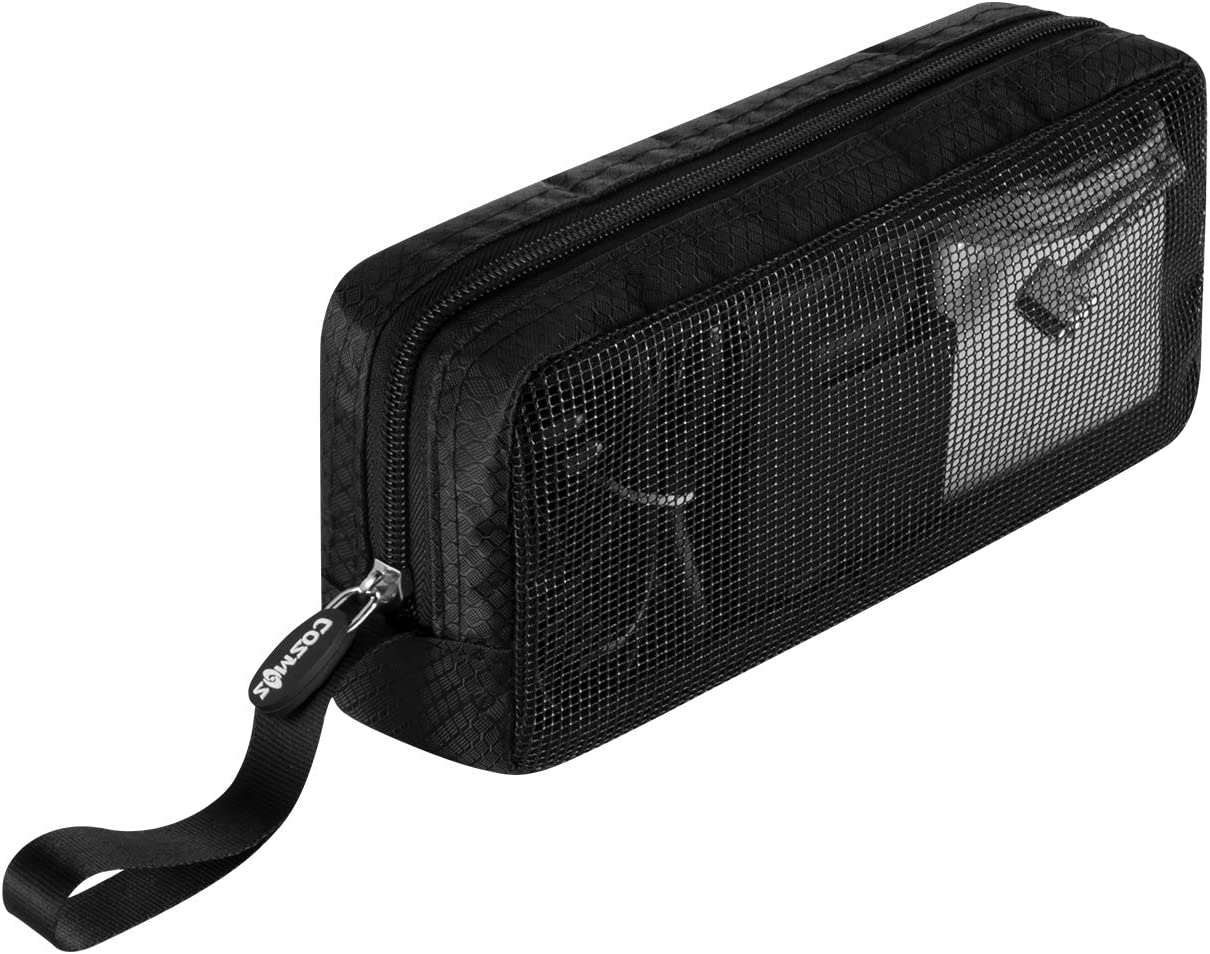 CM Travel Cable Organizer Case Bag Portable Computer Accessories Zipper Mesh Pouch Bag for Holding Laptop Mouse, Power Bank, USB, Adapter, Charger, Cellphone and Cosmetics