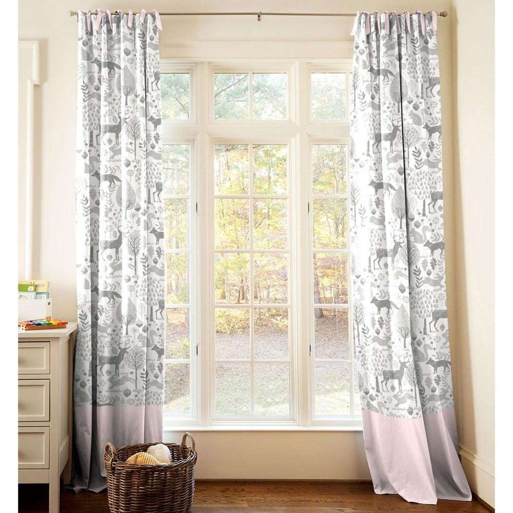 Carousel Designs Pink and Gray Woodland Drape Panel 96-Inch Length Standard Lining 42-Inch Width
