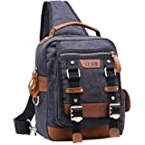 LUXUR Vintage Canvas Leather Chest Bag Shoulder Sling Backpack Messenger Daypacks