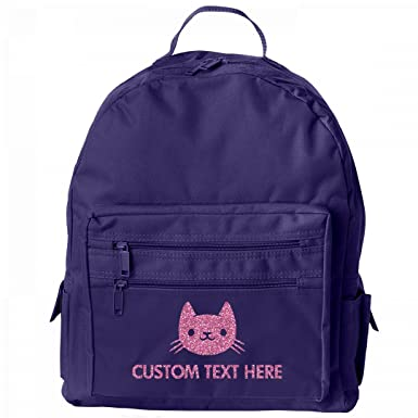 Amazon Com Custom Name Glitter Kitty Cat Kids School Backpack