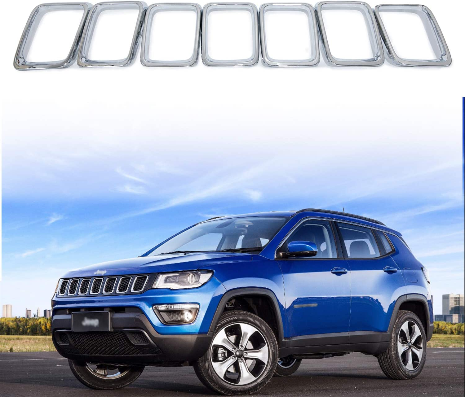 Chrome YAV 7PCS for 2017 2018 2019 Jeep Compass Grill Rings Grill Grille Inserts Trims Kit Clip-in Cover Acessories