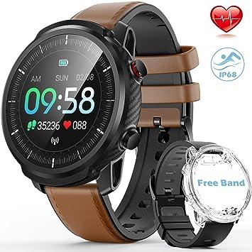 Reloj Inteligente Hombre,Hommie Smartwatch Pantalla Táctil Ccompleta IP68 Pulsera de Actividad Inteligente con Pulsómetro,Monitor de ...