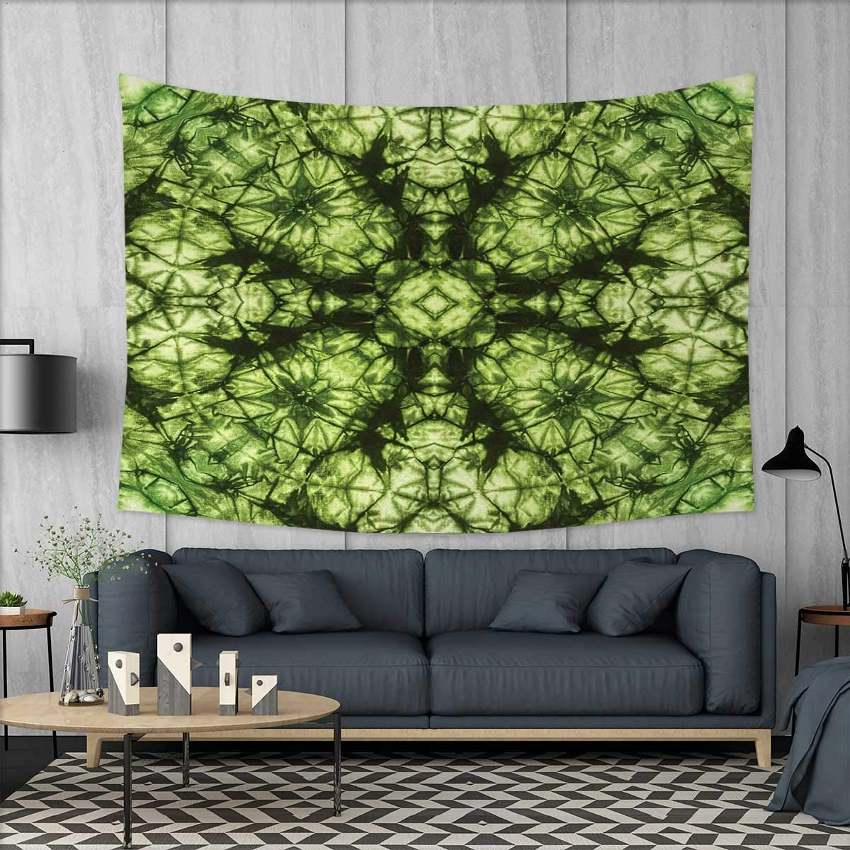 Anniutwo Abstract Dorm Decor Weird Abstract Original Pattern with Fold Form Free Artisan Rattling Surreal Image Tapestry Table Cover Bedspread Beach Towel W71 x L60 (inch) Green