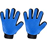 Mpow Pet Grooming Glove, Efficient Dog Hair Remover Mitt Cat Gentle Deshedding Brush Glove, Gentle Massaging Tool with Enhanced Five Finger Design, Perfect for Pets (2-Pack, Right-Handed Only)