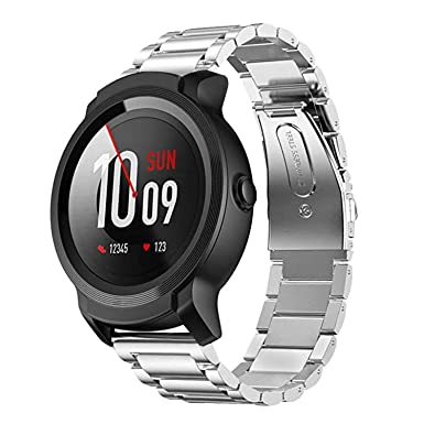 Aimtel Compatible with Ticwatch S2//E2,Ticwatch Pro Strap,22mm Metal Stainless Steel Band Black