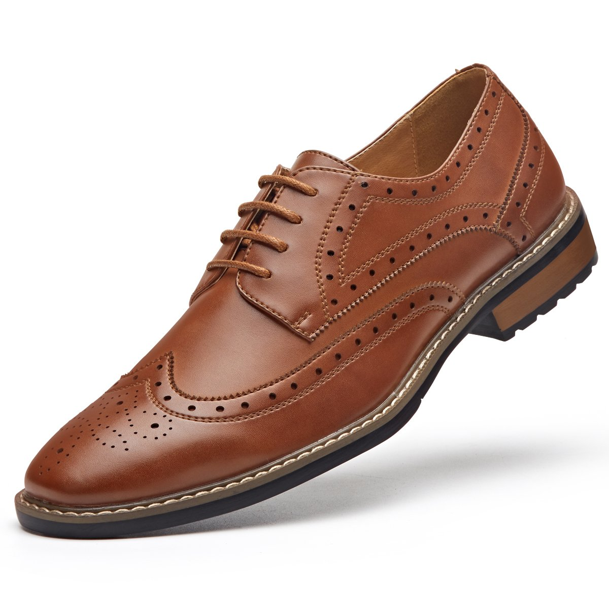 Men's Leather Oxford Dress Shoes Formal Wing-Tip Lace up Derby Shoes Brown 9.5
