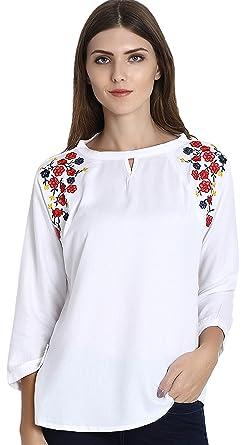 c617953e5628fc Triumphin Women's White Embroidered Cotton Top: Amazon.in: Clothing ...