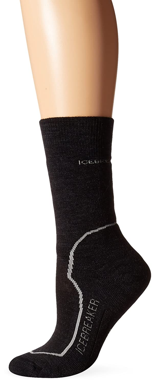 Icebreaker Women's Hike+ Mid Crew Socks, Jet/Silver/Black