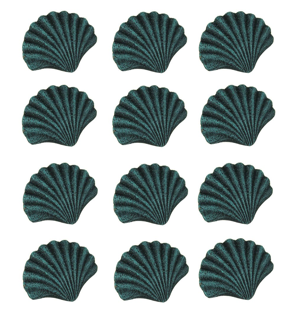 Chesapeake Bay Cast Iron Drawer Pulls Blue Verdirgris Cast Iron Scallop Shell Drawer Pull Set Of 12 2.5 X 2 X 1.5 Inches Teal