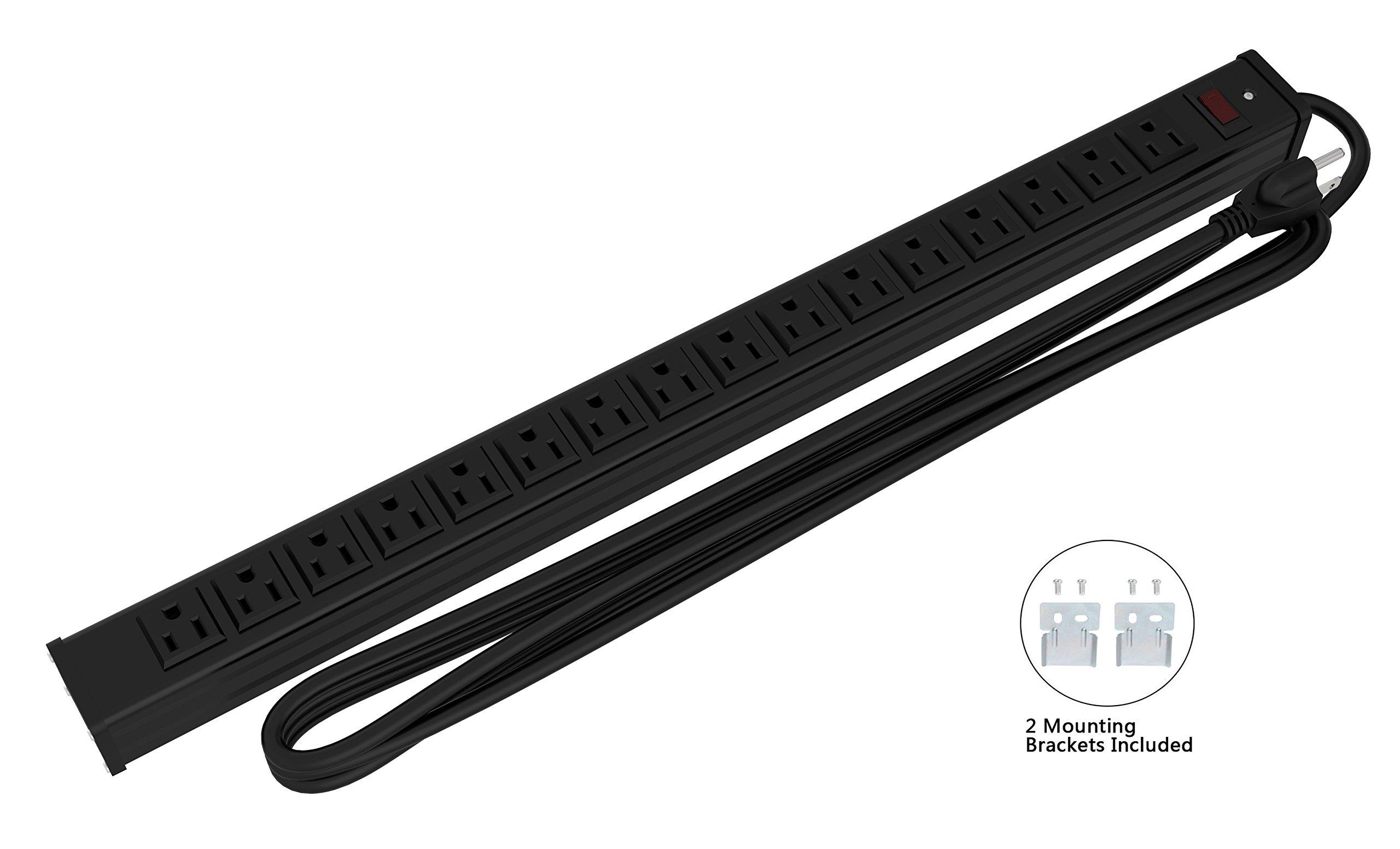 Oviitech 16 Outlets Heavy Duty Metal Socket Power Strip, 15-Foot Long Extension Cord with Circuit Breaker. Mounting Brackets Included,Workshop/Industrial use,ETL Certified