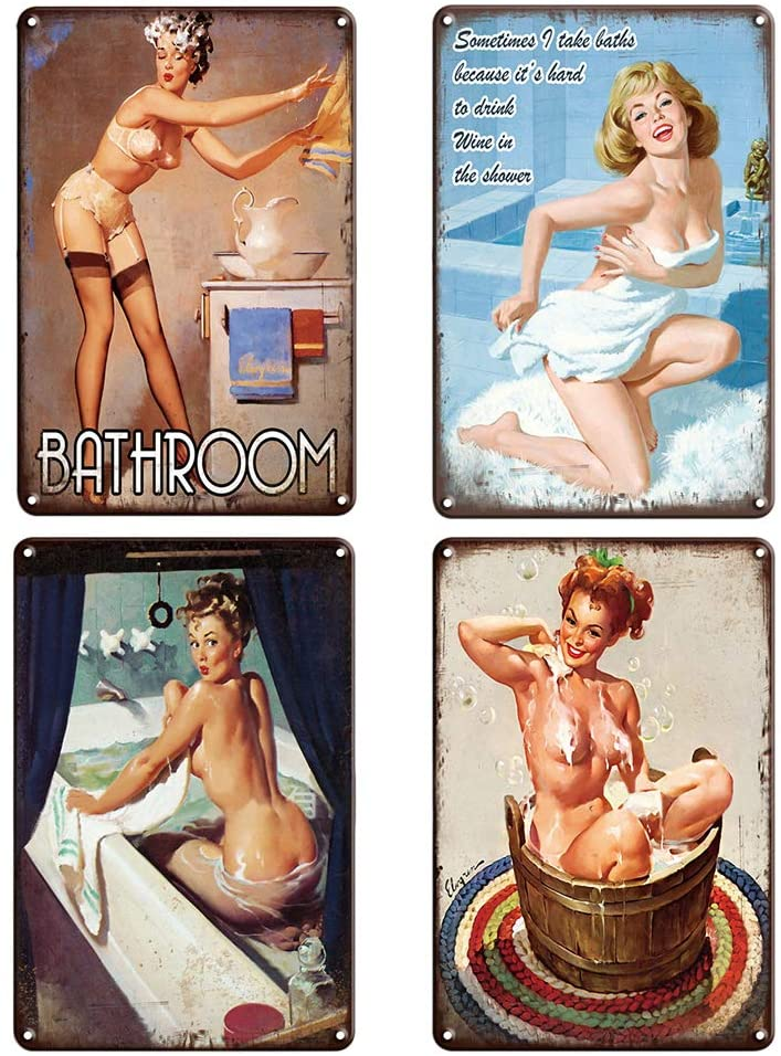 QUMENEY 4PCS Vintage Metal Tin Wall Sign Plague Poster, Bathroom Sexy Pinup Girl Pattern Wall Decor Art Tin Sign for Cafe Bar Pub Beer (30x20CM/11.8x7.9in)