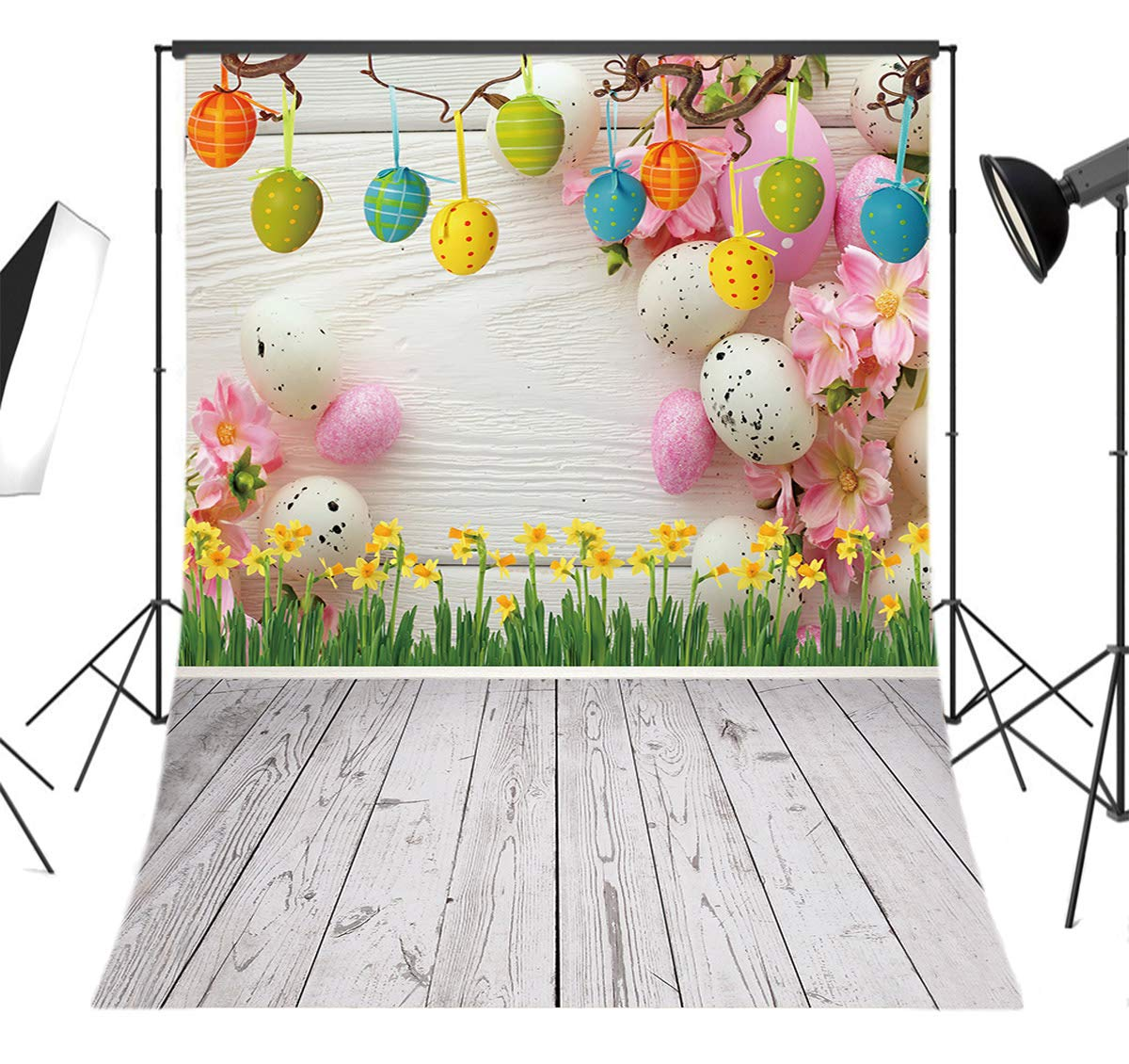LB Spring Easter Backdrop for Photography 5x7ft Vinyl Yellow Flowers Eggs Wood Floor Background for Children Kids Adult Portraits Photo Backdrop Studio Props