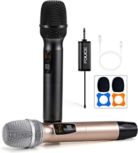 Wireless Microphone, Karaoke Mic, FDUCE UHF Dual Handheld Dynamic System with Rechargeable Receiver for Party, Church, Meeting, Wedding, 260ft (Grey and Gold)