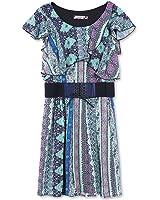 Speechless Big Girls' Printed Flutter Sleeve Dress with Wide Elastic Belt