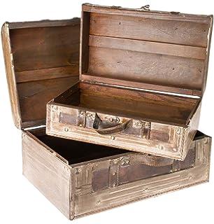 bakaji set 4 bauli stile valigia da viaggio retrò piccoli e grandi ... - Soggiorno Stile Antico 2