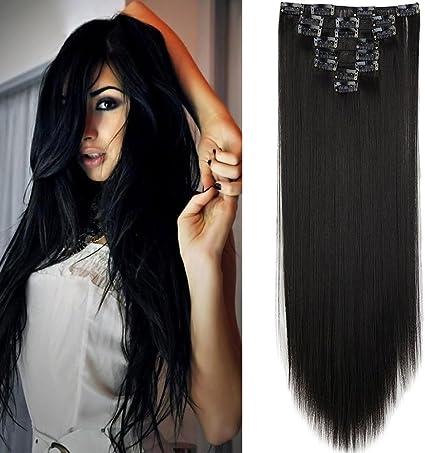 Extensión del cabello de 58 cm Cabello liso Negro Clip largo y recto en extensiones Efecto natural 8 Bandas de cabeza completa, Negro natural