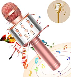 FUKKUDA Karaoke Microphone for Kids, 3 in 1 Wireless Portable Handheld Microphone Karaoke Machine for Christmas Home Birthday Party, Voice Disguiser Karaoke Microphone