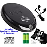 Classic CD Discman (Portable Personal CD Player), inc Earphones, Batteries, Power Supply. 60 Second Anti-Skip Protection, 20 track Memory, Black (Inc Batteries AND Mains Power Supply)