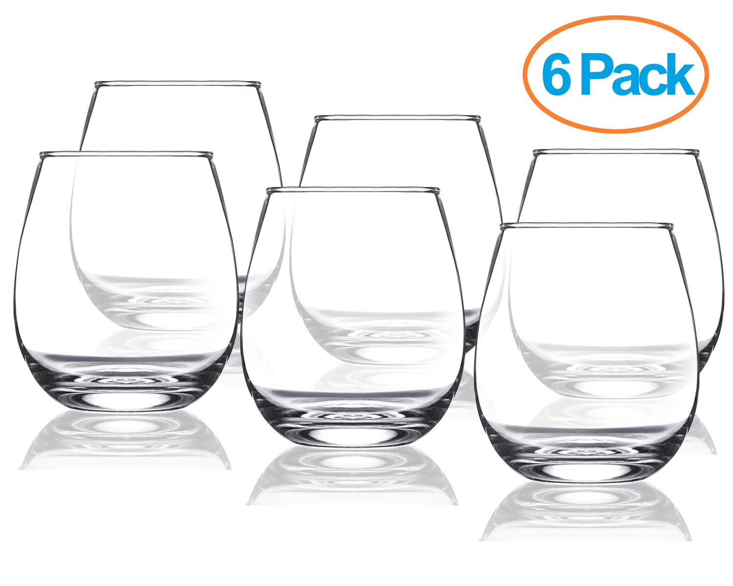 Chef's Star 15 Ounce Stemless Wine Glasses, Set of 6