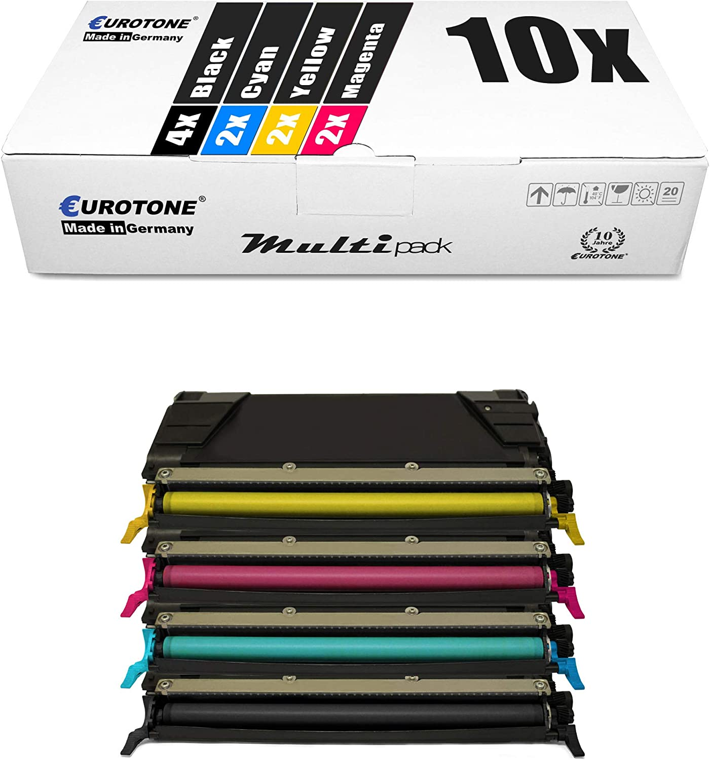 8X Eurotone Toner for Lexmark Optra C 520 522 524 530 532 534 DN N DTN Replaces