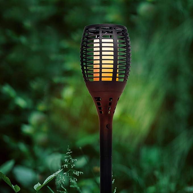 Lightsjoy Lampe Torche Solaires dext/érieur de Jardin LED 96 pcs Etanche lumi/ère D/écorative Danse flammes Vacillantes Imperm/éable en ABS pour Jardin Chemin Patio F/ête Yard balcon 4 pack