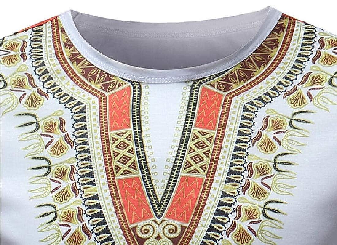 XINHE Men V-Neck African Print Dashiki Short Sleeves Plus Size Top T-Shirt