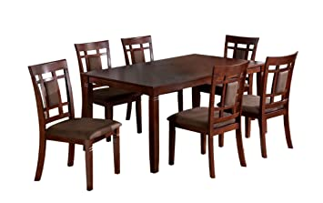 Furniture Of America Cartiere 7 Piece Dining Table Set Dark Cherry Finish