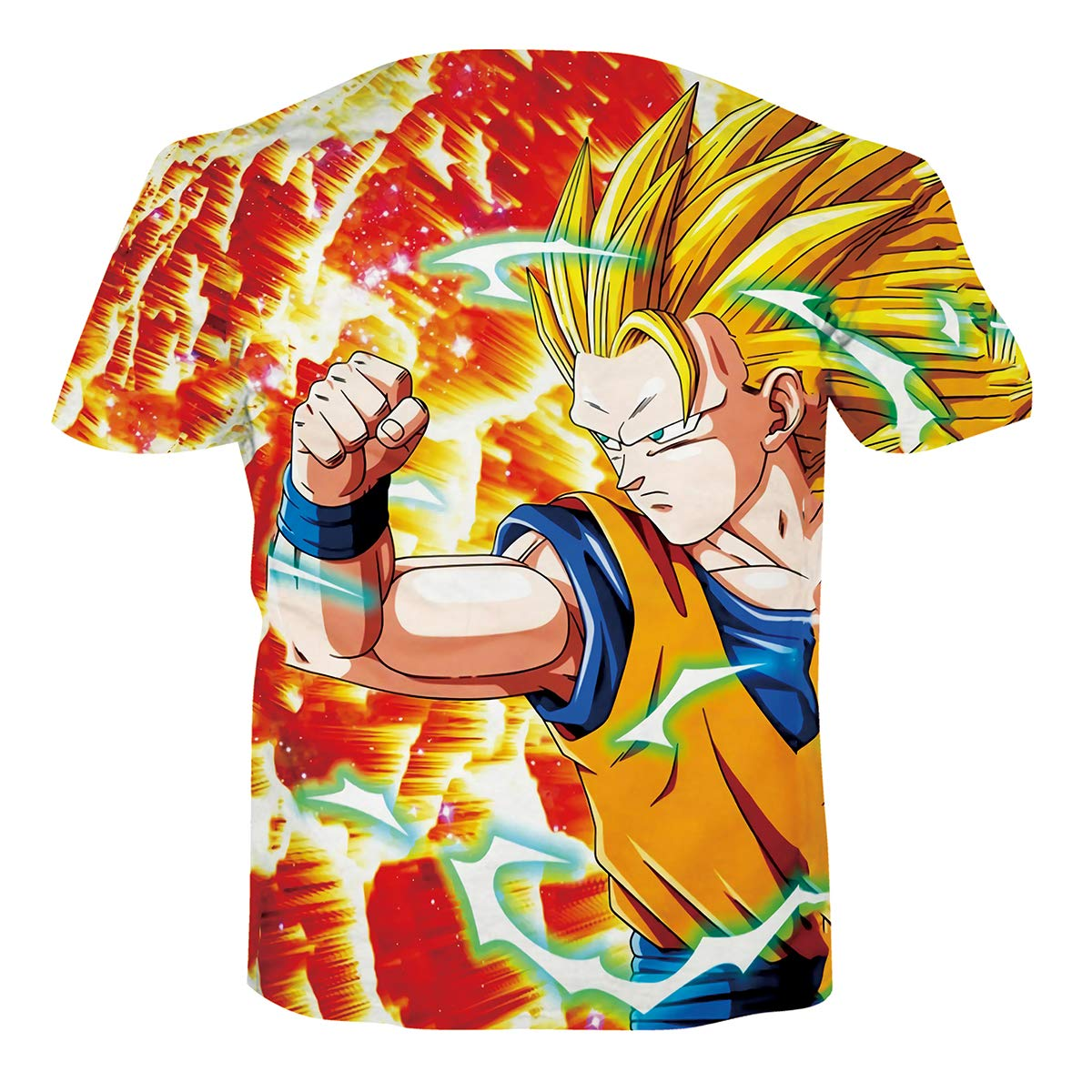Ocsoc Women Men Dragon Ball Z Vegeta Goku Super Saiyan Print Casual 3D T-Shirt Tee