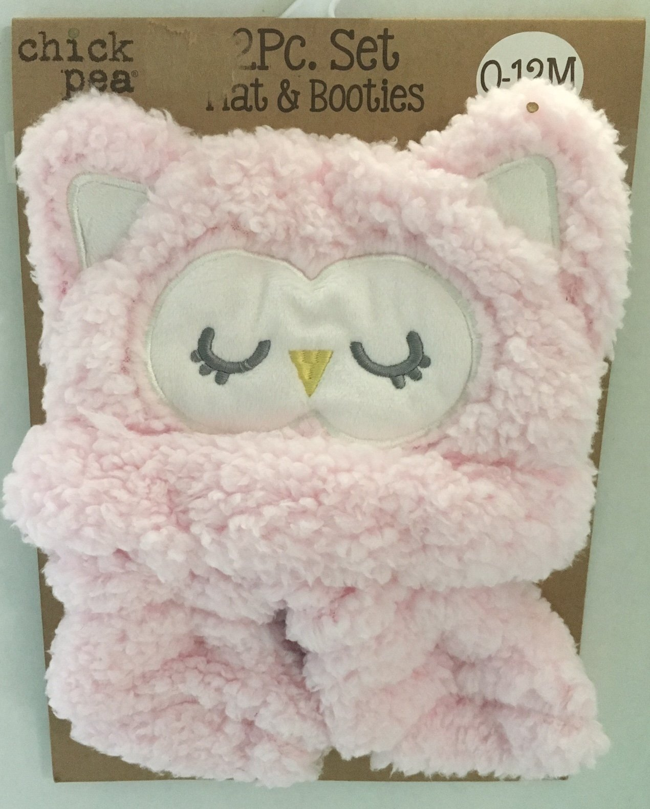 Chick Pea Pink Owl Hat and Booties set for Baby