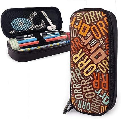 Orr - Estuche lápices cuero gran capacidad apellido americano Estuche lápices Estuche papelería Organizador caja Organizador maquillaje escolar Estuche papelería para estudiantes: Amazon.es: Oficina y papelería