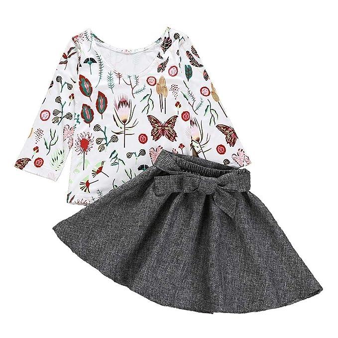 fccb3a4a3 K-youth Vestidos Bebe Niña, 1 a 5 años Ropa Niña Elegantes Vestido de  Fiesta para Niñas Manga Larga Mariposa Florales Top + Arco Falda 2 pcs Ropa  ...