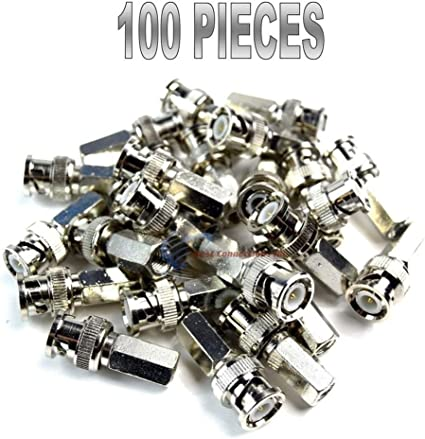100 Pcs BNC Male RG59 Twist-on Cable  Connector for CCTV Security Cameras