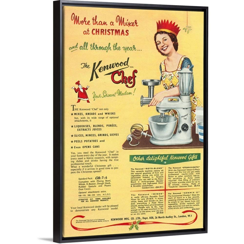 """Floating Frame Premium Canvas with Black Frame Wall Art Print Entitled The Kenwood Chef, Kitchen Appliance 32""""x48"""""""