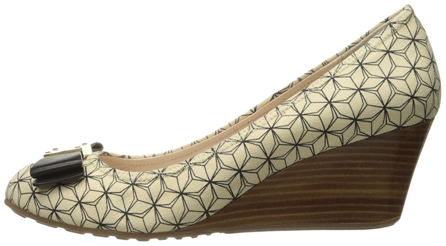 Cole Haan Women's Tali Grand Bow 65 Wedge Pump B06WP1Y9FS 9.5 B(M) US|Ivory/Black Prism Print