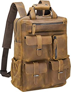 Polare Cowhide Leather Multiple Laptop Backpack Day Pack Travel Bag Satchel with 1 Year Warranty