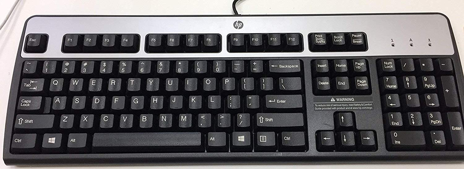 HP 701428-001 Multimedia keyboard (Quartz Gray) - With sound control/shortcut keys, headset, and microphone jacks - Has attached 1.6m (5.2ft) cable set with 6-pin mini-DIN connector, headset connector, and microphone connector (USA - English)Windows PS/2 keyboard (Jack