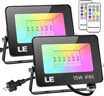 LE Foco LED RGB 15W, RGB LED Foco de Colores, Impermeable IP65, 16 ...
