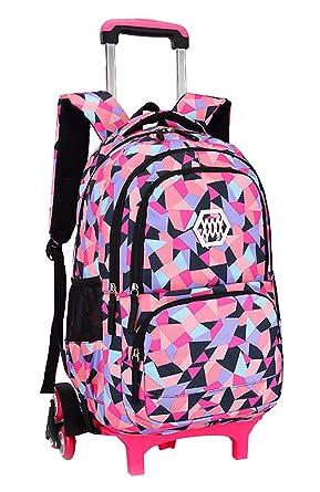 c676de923f0 Fanci Geometric Figure Kids Rolling School Backpack Waterproof Nylon Trolley  Carry on Luggage With Six Wheels