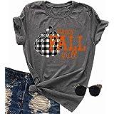 Happy Fall Y'all Halloween Pumpkin Shirt Women Plaid Print Funny Graphic Tee Fall T-Shirt Top