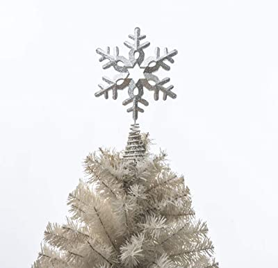 A Ting Silver Christmas Tree Topper Indoor Festive Christmas Treetop Metal Star Decoration for Holiday Home Ornament