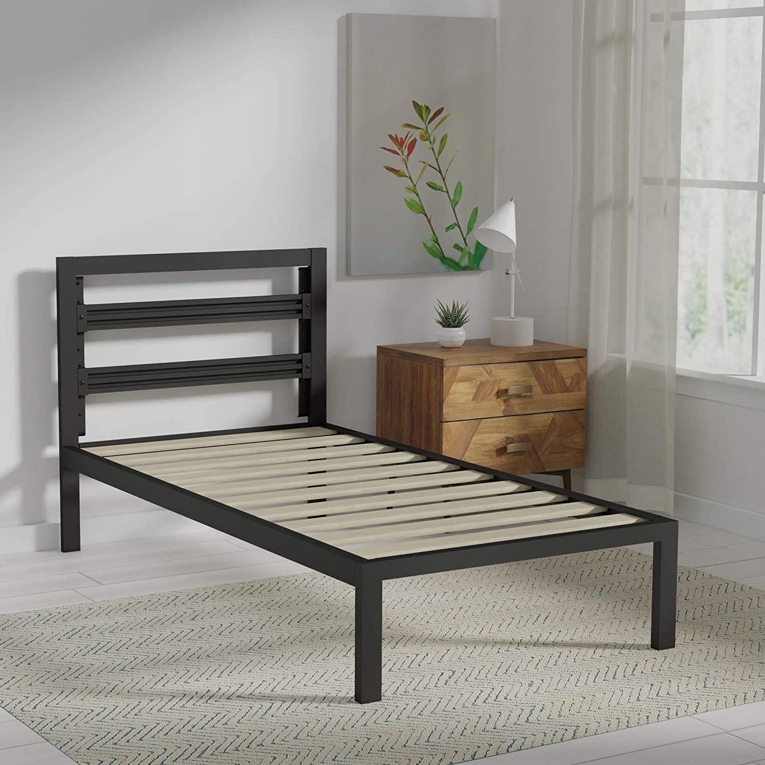 AmazonBasics Metal Bed with Modern Industrial Design Headboard