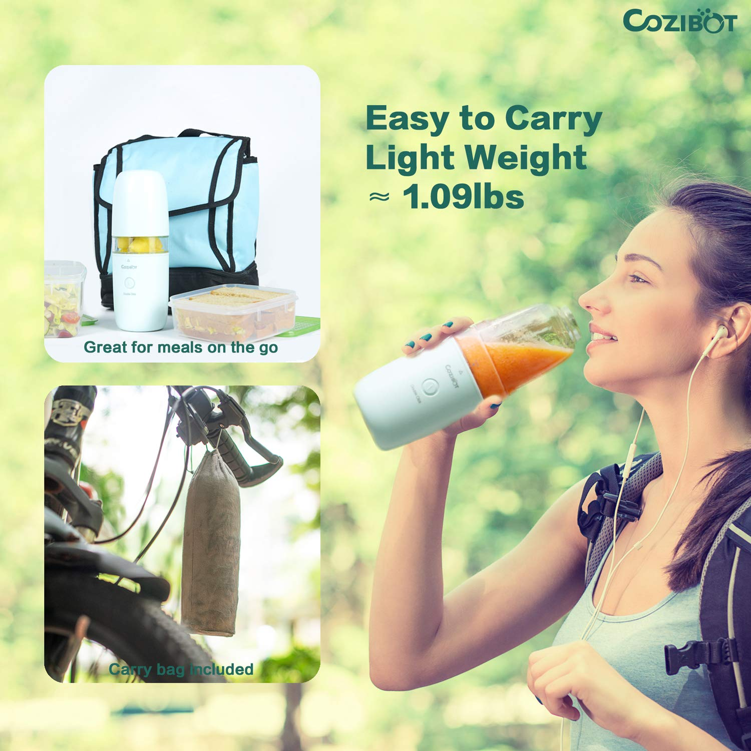 Portable Blender, Cozibot Travel Blender for Smoothies and Shakes, Rechargeable USB Blender for On The Go, Single-Serve Travel Blender, Personal Blender Fruit Juicer Cup with Ice Tray(FDA BPA-Free) by Cozibot (Image #6)