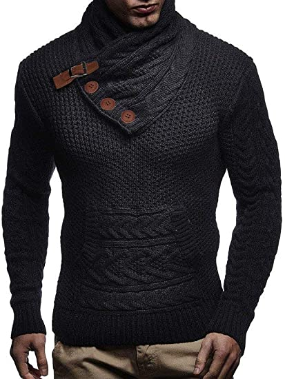 Taoliyuan Mens Turtleneck Sweater Winter Chunky Cable Knit Slim Fit