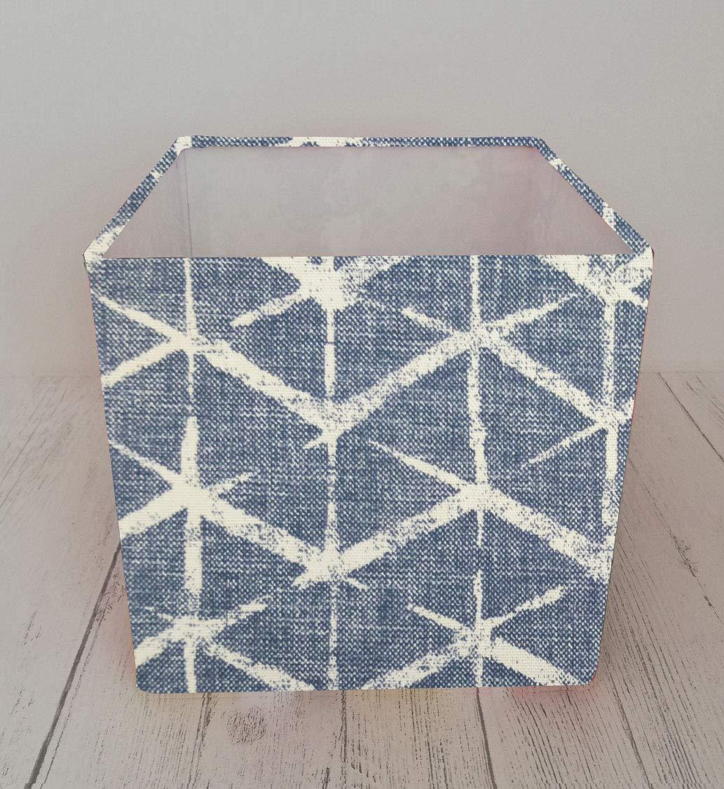 Square Lampshade made with Fryetts Fabian Dark Blue Distressed Geometric
