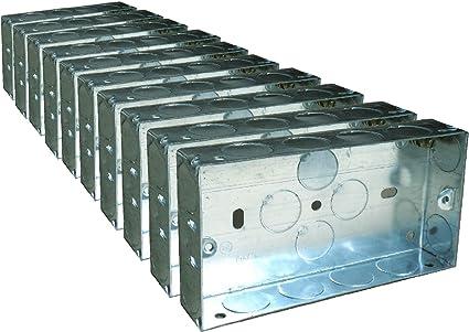 10 x Caja de respaldo metálica doble, soporte de pared enrasada de 25mm / 2 enchufes eléctricos Gang: Amazon.es: Coche y moto