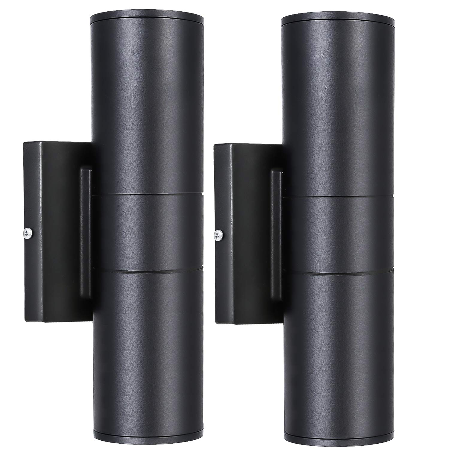 Hykolity LED Outdoor Wall Mount Cylinder Light, 20W Up and Down Wall Lantern Deco Light, 1400lm, 3000K Warm White, Waterproof Architectural Black, for Door Way, Corridor, Garage - 2 Pack