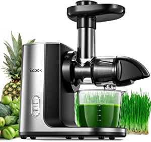 Juicer Machines, Aicook Cold Press Masticating Juicer with Upgraded Filter, Higher Juice Yield, Easy to Clean Slow Juicer, Brush and Recipes for Vegetables and Fruits Included