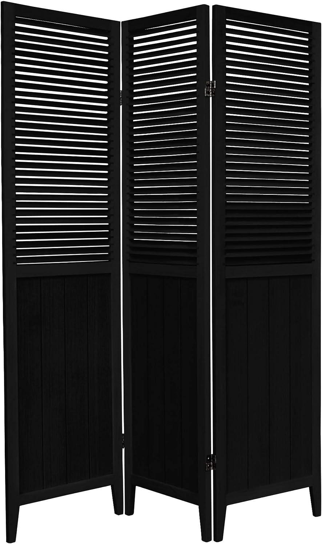 Oriental Furniture 6 ft. Tall Beadboard Divider - Black - 3 Panels